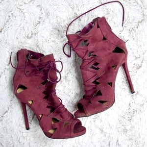 Maroon Laser-cut High Heel Booties
